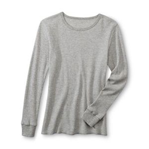 Women's Grey Waffle-Knit Thermal Top